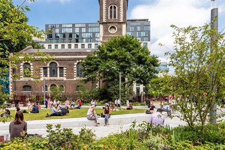 Landscaping of the new gyratory at Aldgate, east London, provided space around nearby St Botolph's Church (PIC John Sturrock/Gillespies)