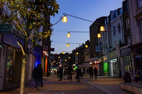 Outdoor 'lampshades' in Hackney's Mare street create a distinctive experience for pedestrians (PIC Light Follows Behaviour)