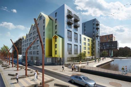 The Lampwick development's homes and terrace look over the Ashton canal