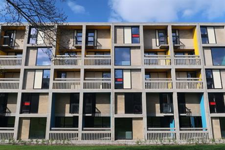 At Beton House concrete balconies have been restored and bright blocks of primary colour introduced (PIC Jon Phipps)