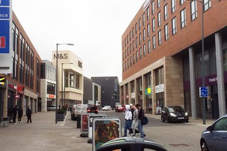 [credit: Geoff Wright} The town centre has an urban heart with shops fronting on to the High Street