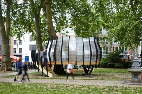 Meeting space is provided around a tree in London's East End [Pic credit: Tate Harmer]