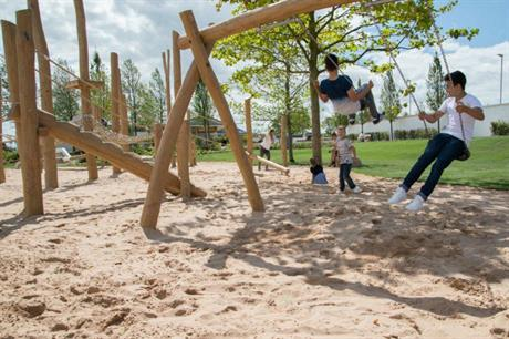 At JTP's scheme at Alconbury Weald, play spaces were provided early in the development (PIC Urban & Civic)