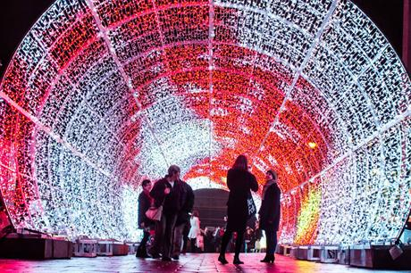 The light tunnel introduced to one of the larger spaces in Norwich city centre (PIC Blachere Illuminations)
