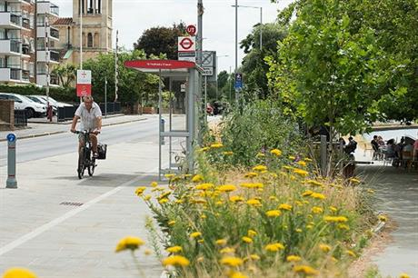 Planting and public realm improvements sit alongside the new cycle lanes (PIC Atkins)