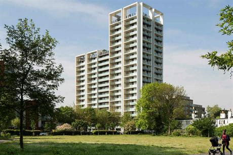 PRP's Park Heights in south London has shading and deep-set windows to reduce overheating risk (PIC PRP)