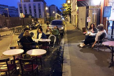 Wide streets and pavements in Paris have allowed cafes and restaurants to expand as lockdown is eased (PIC Nathaniel Kochan)