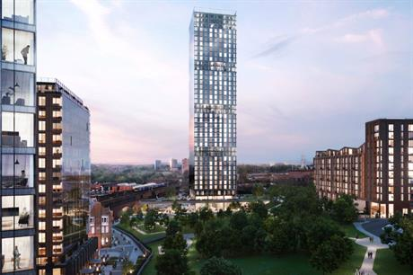 The planned towers at Manchester's Angel Meadows frame the historic park (PIC Shedkm)