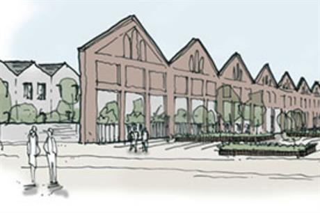 Purcell's design for Wolverton Works retains the facades of historic stores and workshops