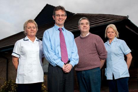 Care home team (L to R): practice nurse Anne Hare, Dr Mackay, partner Dr John Garner, health assistant Felicie Laing