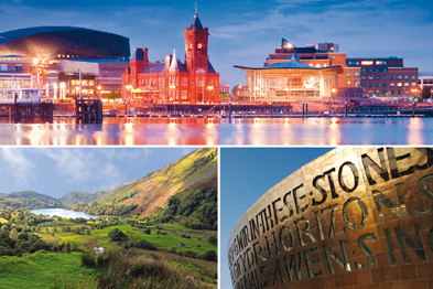 Rural and urban contrasts in Wales: Cardiff Bay (top), Snowdonia (bottom left), Wales Millennium Centre, Cardiff (right) (Photographs: Istock)
