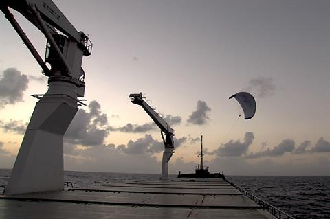 SkySails airborne wind system kite ships to Asia