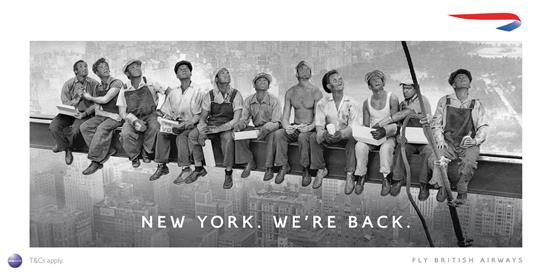 An adapted version of an iconic 1932 photo of workers on a skyscraper is the campaign centrepiece