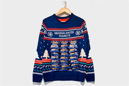 KP backs charity with Christmas jumper adorned with packs of nuts