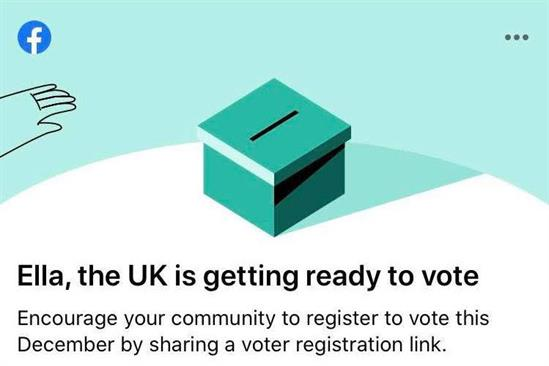 Facebook: successfully prompted 335,000 people to register to vote