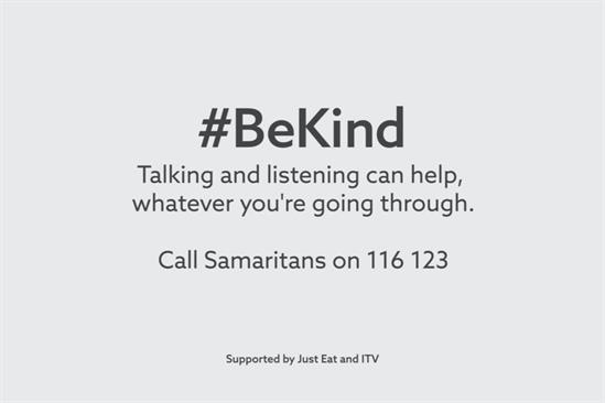 ITV: aired unbranded idents urging people to #BeKind