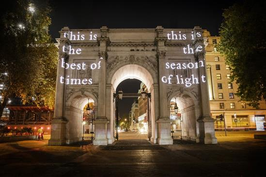 Mulberry projects festive poem on to UK landmarks