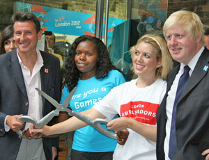Lord Coe (left) and London Mayor Boris Johnson (right) launch an earlier appeal for specialist volunteers