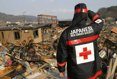 The Red Cross helped following the Japenese tsunami