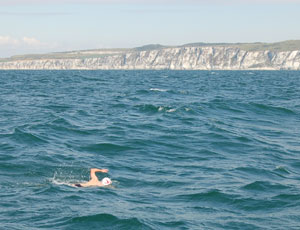 Nearing the end: a member of the Aspire team on the cross-Channel swim