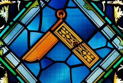 A stained glass window in the Freemasons' Hall, London