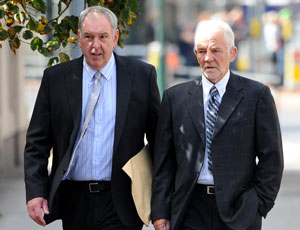 Former trustees Mick Stevens (left) and Tom Greatrex have been accused of stealing £150,000 from miners' charity