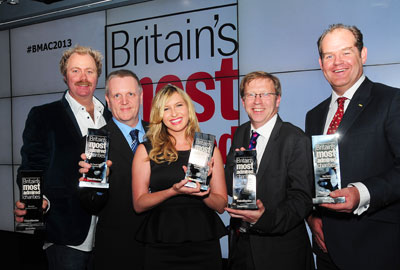 BMAC winners (left to right): Justin Coghlan of Movember, David McAuley of the Trussell Trust, Brooke Kinsella, Paul Farmer of Mind and Ed Bracher of Riding for the Disabled on behalf of Clare Balding