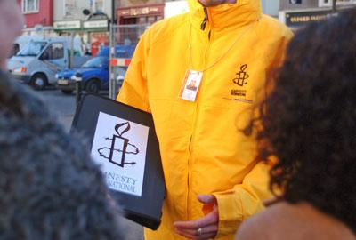 An Amnesty International street fundraiser