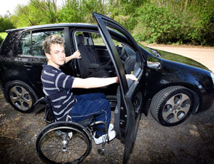 Aaron Morgan and his adapted car