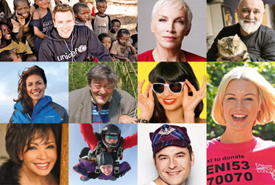Celebrities promoting charity messages