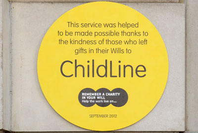 ChildLine's yellow plaque