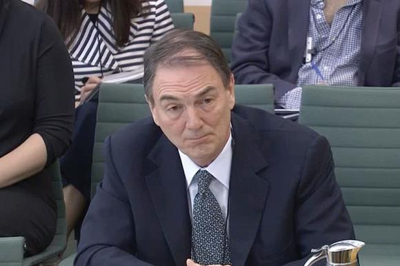 Sir Allan Parker giving evidence to parliament on his handling of sexual misconduct allegations at Save the Children