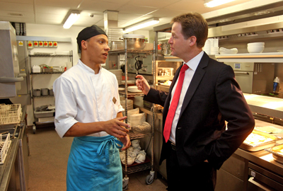 Nick Clegg, the Deputy Prime Minister, sees how the government's Youth Contract is helping to employ young people