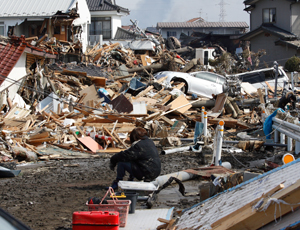 Destruction following the earthquake in Japan