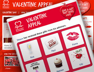 Facebook users can send heart-related valentine gifts