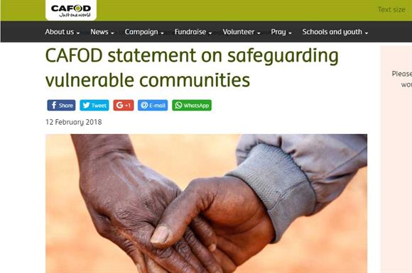 Cafod's statement on its website