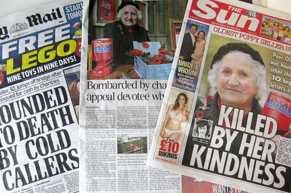 Newspapers reporting the death of poppy seller Olive Cooke