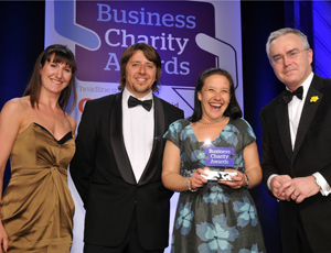 Third Sector publisher Beth Pedersen with Ethicall's James Wheatcroft and Cristy Cunnick, and presenter Huw Edwards