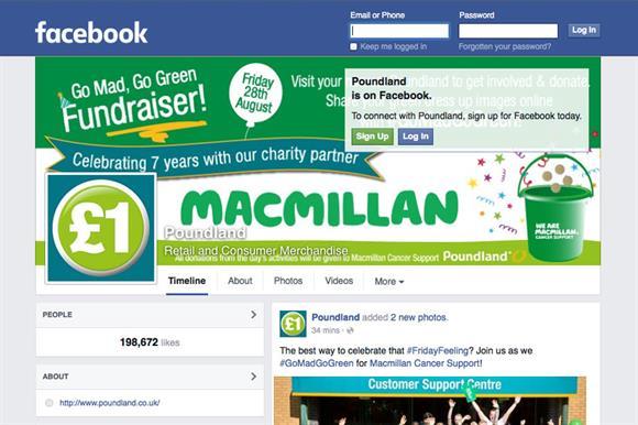 Macmillan's Poundland Facebook takeover
