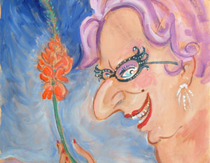 Barry Humphries' self-portrait of his alter-ego Dame Edna Everage