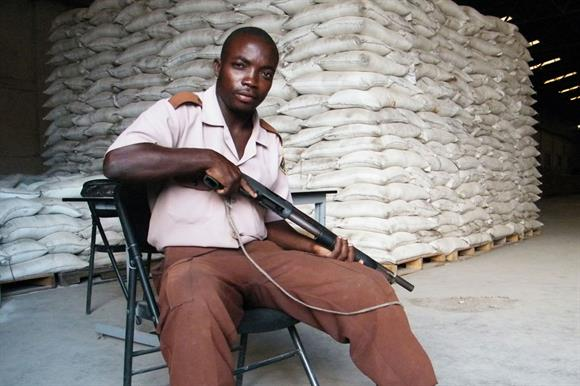 Guarding food aid in Haiti