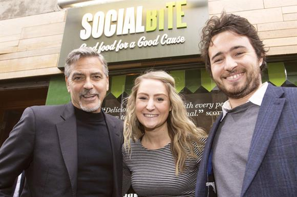 Clooney with co-founders Alice Thompson and Josh Littlejohn