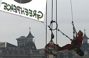 A Greenpeace protestor. Photo: Greenpeace