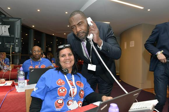 The comedian Lenny Henry helps out with a telethon