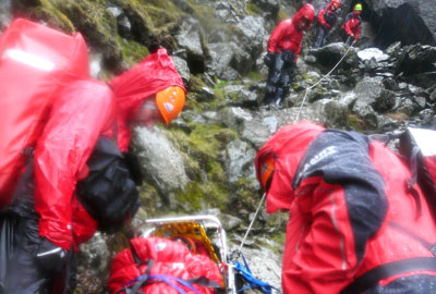 Mountain rescue, photograph by Paul Burke
