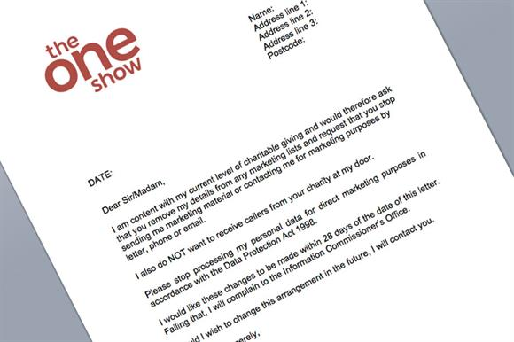 Pro Forma Letter Asking Charities Not To Contact People Downloaded