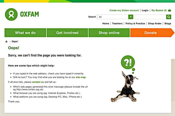 Oxfam's web page as it now appears