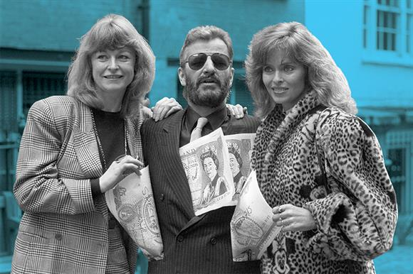 Ringo Starr and his actress wife Barbara Bach (right) with the broadcaster Sue Cook at the launch of payroll giving in 1987