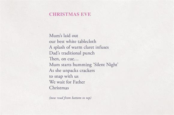 Christmas Poem.Refuge Launches Reversible Christmas Poems To Reveal Reality