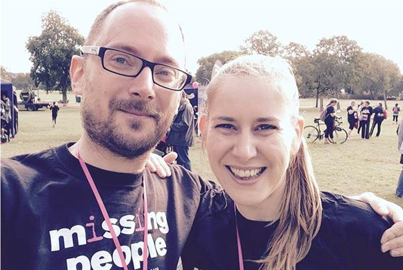 From left: Ross Miller, director of fundraising and communications at Missing People, next to one of the charity's supporters